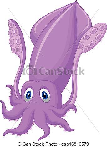 Drawn squid clip art Illustration of Cute squid cartoon