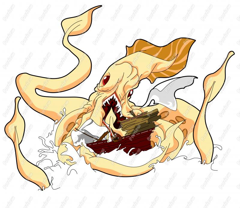 Drawn squid squid monster Monster Character Clip ship Art