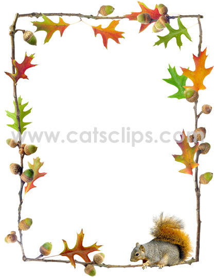 Acorn clipart border Leaves acorns Squirrel www and