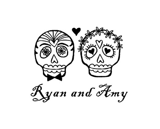 Sleleton clipart bride and groom Sugar rubber skull and stamp