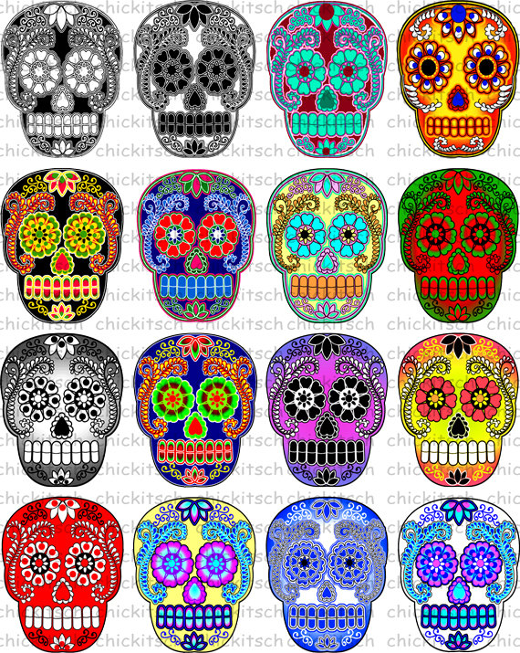 Ssckull clipart colorful Print by Pictures Colorful