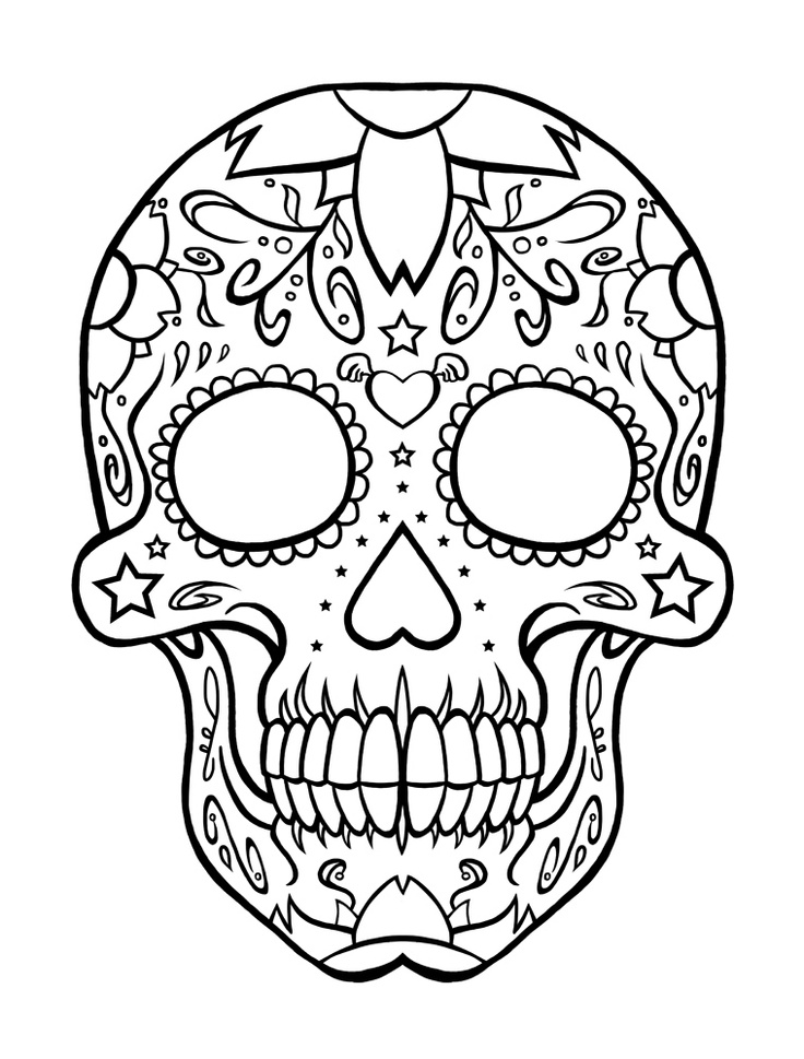 Drawn skull coloring page Coloring Pages Free on Art