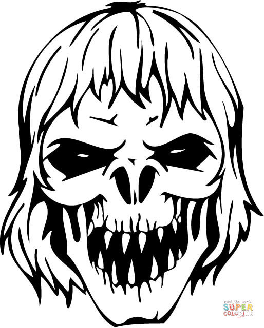 Ssckull clipart coloring page Zombie page Scary the coloring