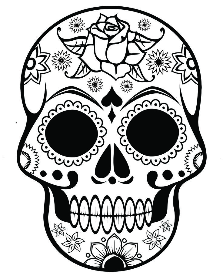 Ssckull clipart coloring page Skull pages Flowers Sugar Printable