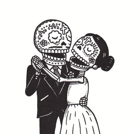 Ssckull clipart couple Día Gocco best Limited Serigraph