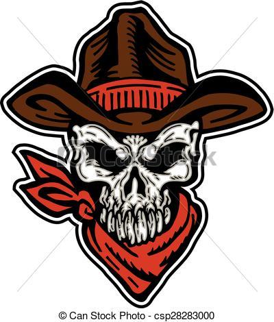 Cowboy clipart skull Bandana Vector skull with hat