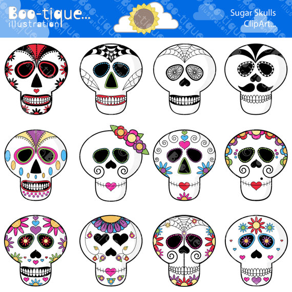 Sugar Skull clipart mexican Digital Sugar Clipart Day Mexican