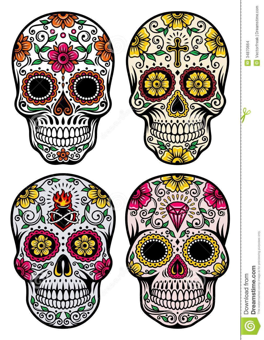 Day Of The Dead clipart skull Million Set Skull Over Download
