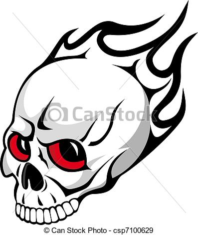 Ssckull clipart flame drawing Skull  EPS Evil with