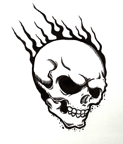 Ssckull clipart flame drawing Skulls flames Clipart with flames