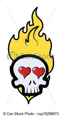 Drawn skull on fire Vectors Skull Romantic Fire csp15296673