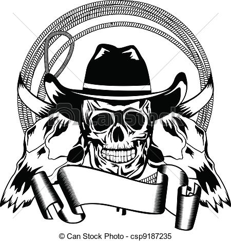 Ssckull clipart graphic art Cowboy Vector and  cowboy