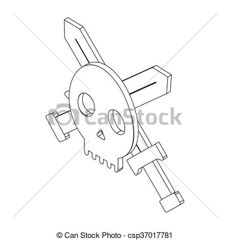 Ssckull clipart isometric Two on isolated Black Skull