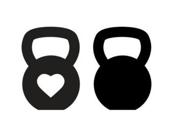 Ssckull clipart kettlebell Heart // weights // Decal