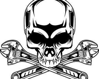 Ssckull clipart mechanic Art Motorcycle Logo Wrench T