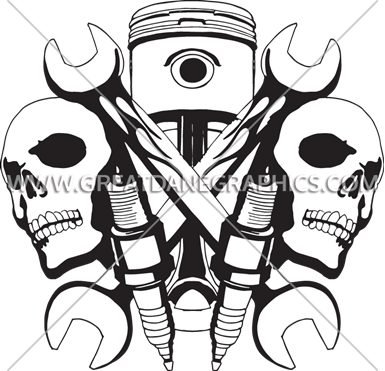 Ssckull clipart mechanic Shirt Skulls Production Printing T