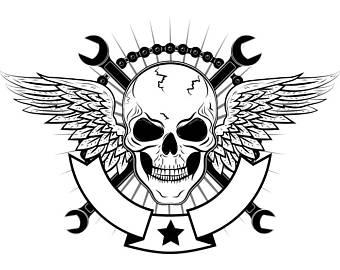 Ssckull clipart mechanic Etsy Bike Logo Bars Banner