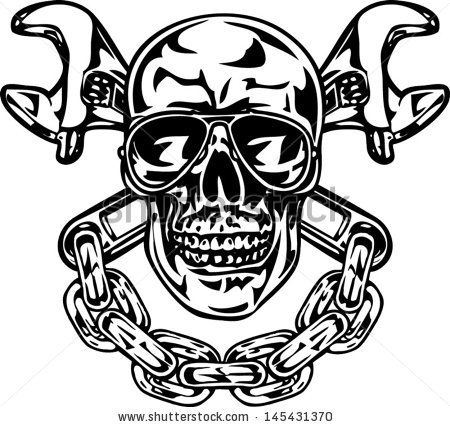 Ssckull clipart mechanic  Vector Skull With And