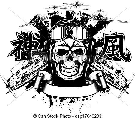 Ssckull clipart pilot Illustration  in helmet helmet