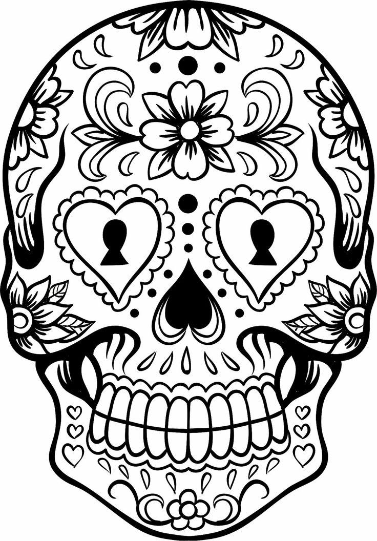 Sugar Skull clipart outline Outline Art Skull Skull Clipart