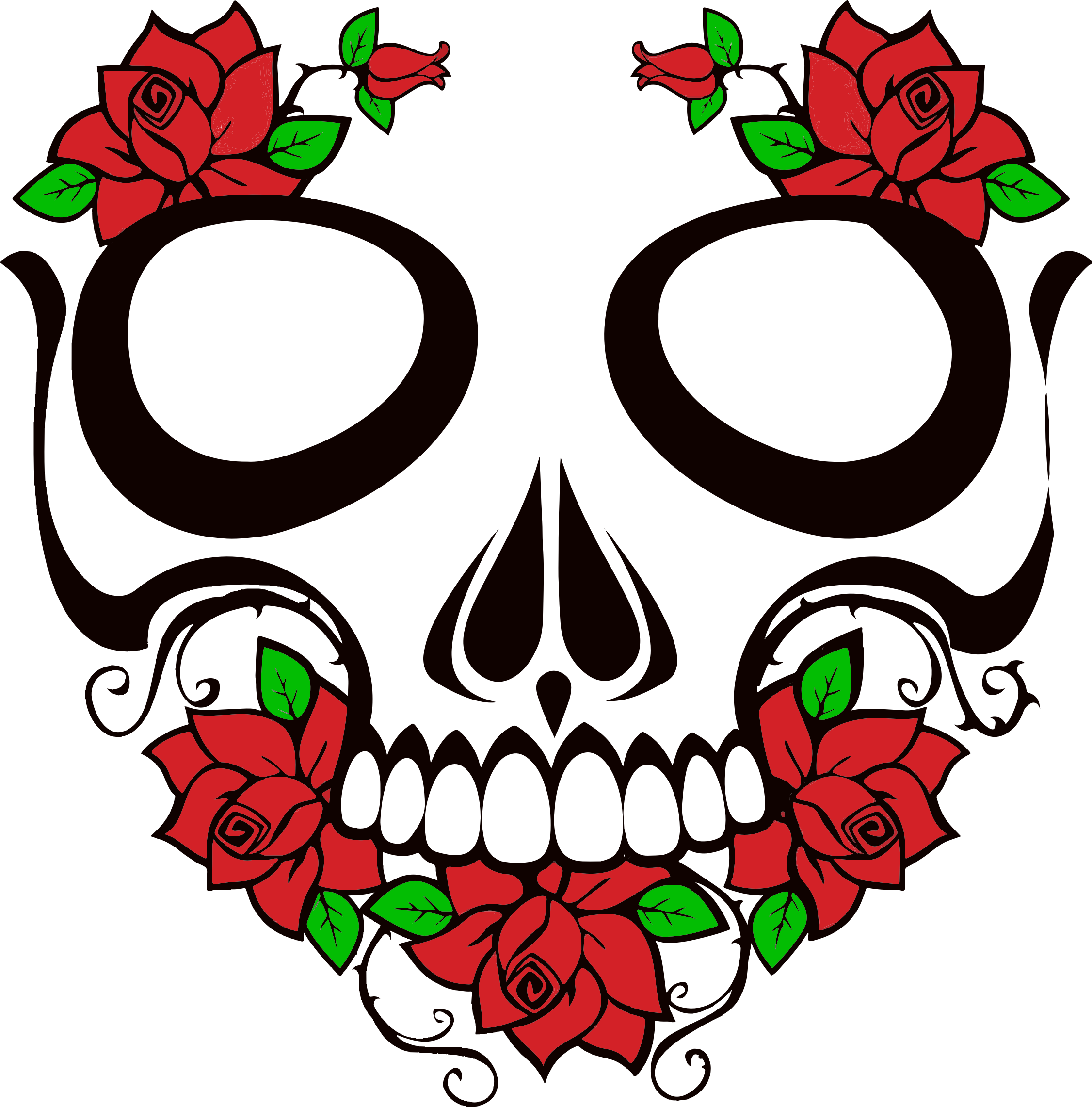 Ssckull clipart rose #6