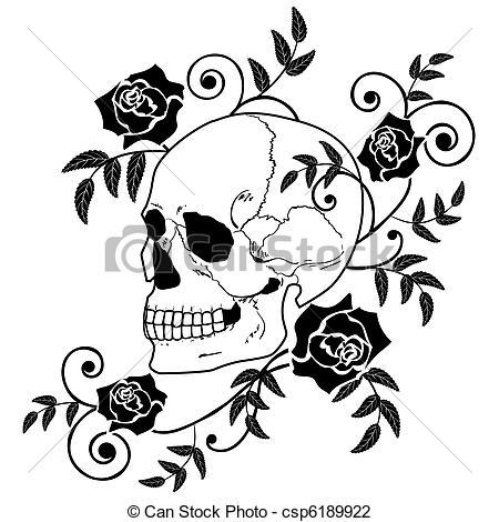 Ssckull clipart rose #1