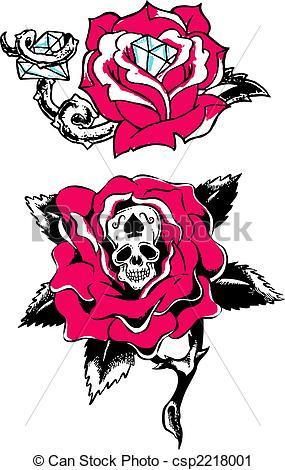 Ssckull clipart rose #2