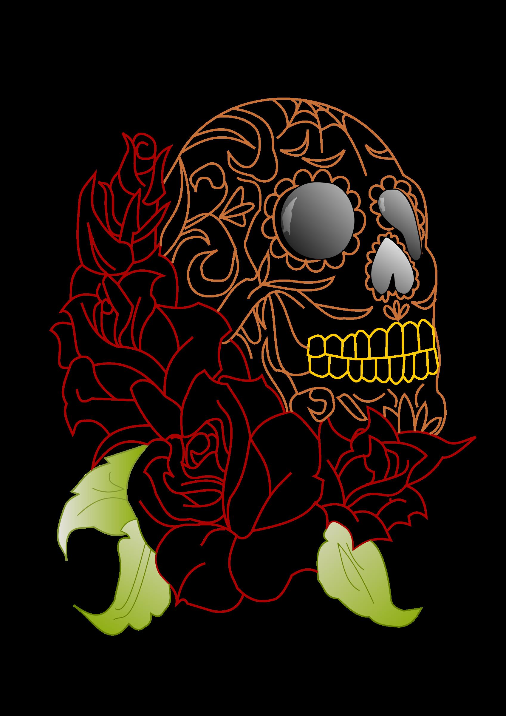 Ssckull clipart rose #7