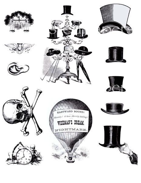 Top Hat clipart steampunk Crossbones Art Victorian and Top