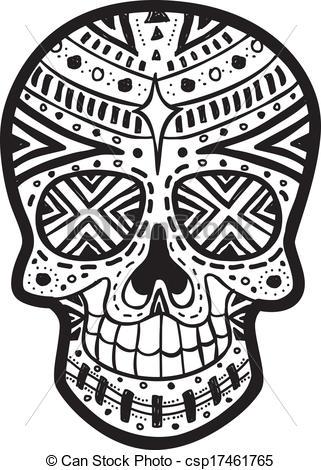 Drawn sugar skull vector Sugar Art sugar Vector Clip