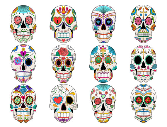 Ssckull clipart sugar skull Art 12 JPG Sugar on