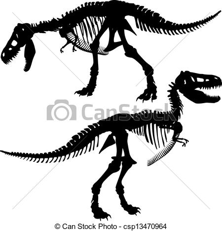 Bones clipart t rex 450 of vector Fossil royalty