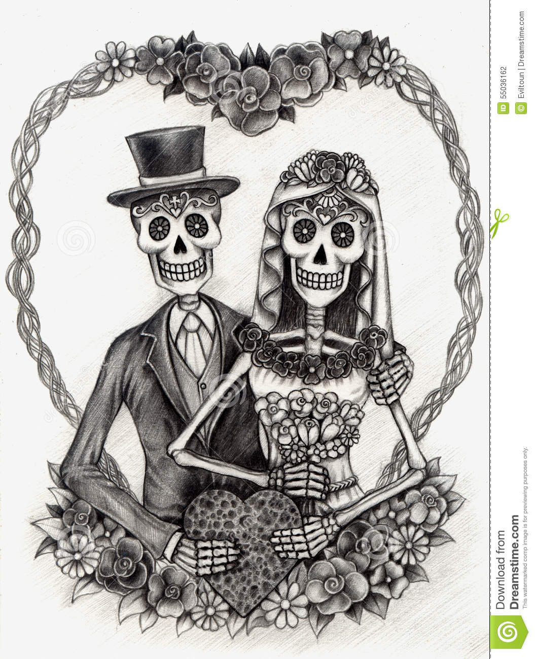 Ssckull clipart wedding Drawing (37+) Wedding Dead the