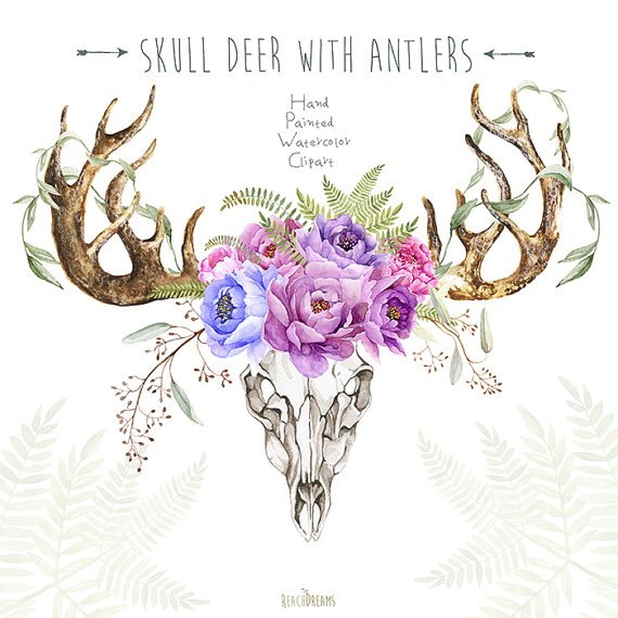 Ssckull clipart wedding Horns Antlers Deer Peony Skull