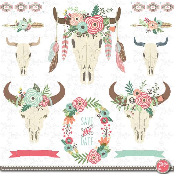 Ssckull clipart wedding FLORAL art: arrow floral dpi