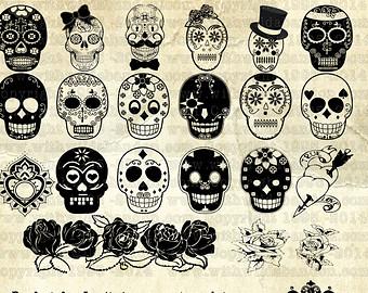 Sugar Skull clipart dia del Clipart Etsy of Sugar Muertos