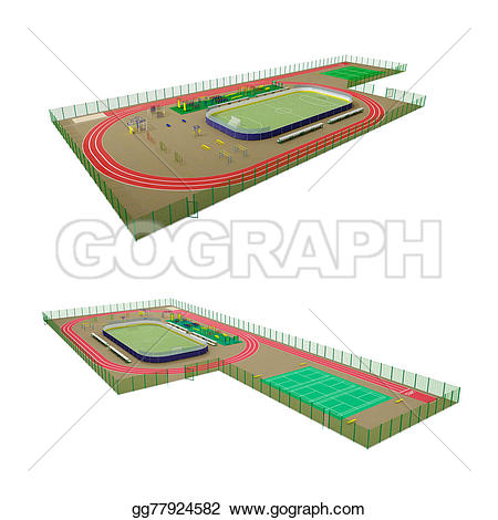 Stadium clipart 3d model Kinds sport Drawing equipment large