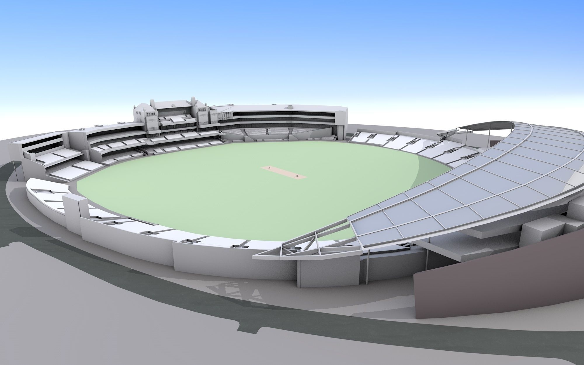 Stadium clipart 3d model 3ds c4d 3d cricket ground