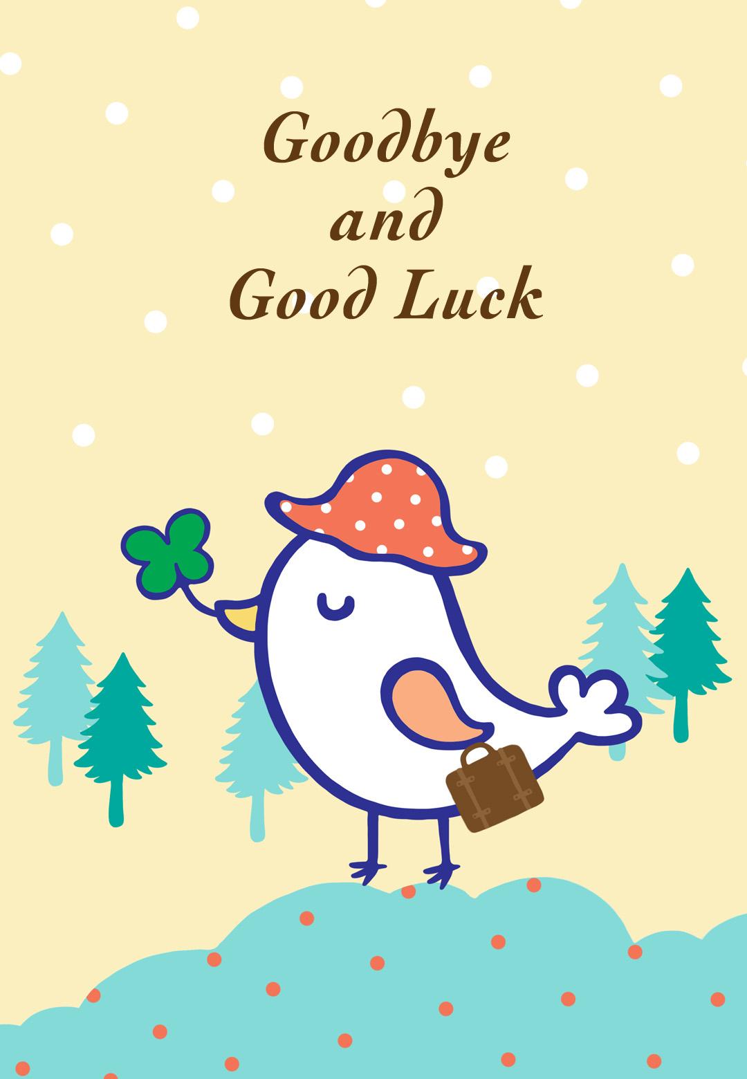 Staff clipart farewell Goodbye Printable Luck Card Luck