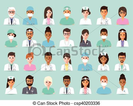 Staff clipart hospital staff Group and avatars Vector Clip
