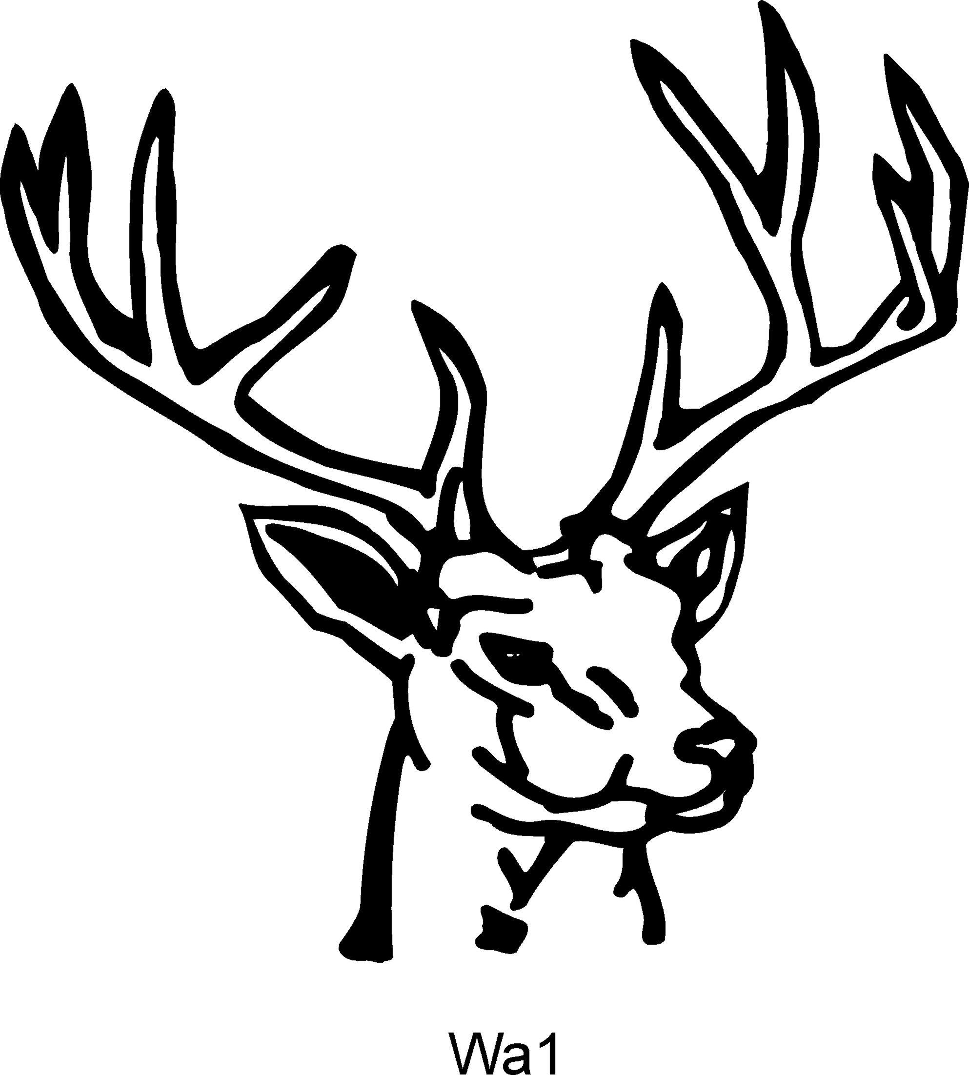Drawn buck woodcut White Art Head Stag Line