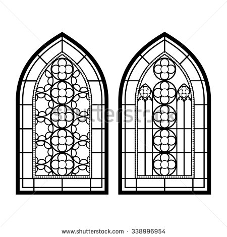 Simple clipart stained glass window #5