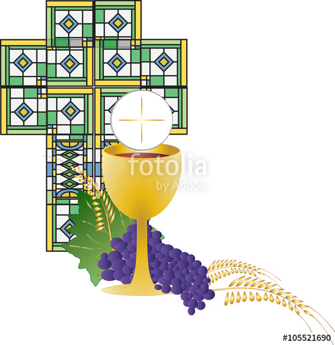 Stained Glass clipart chalice host #2