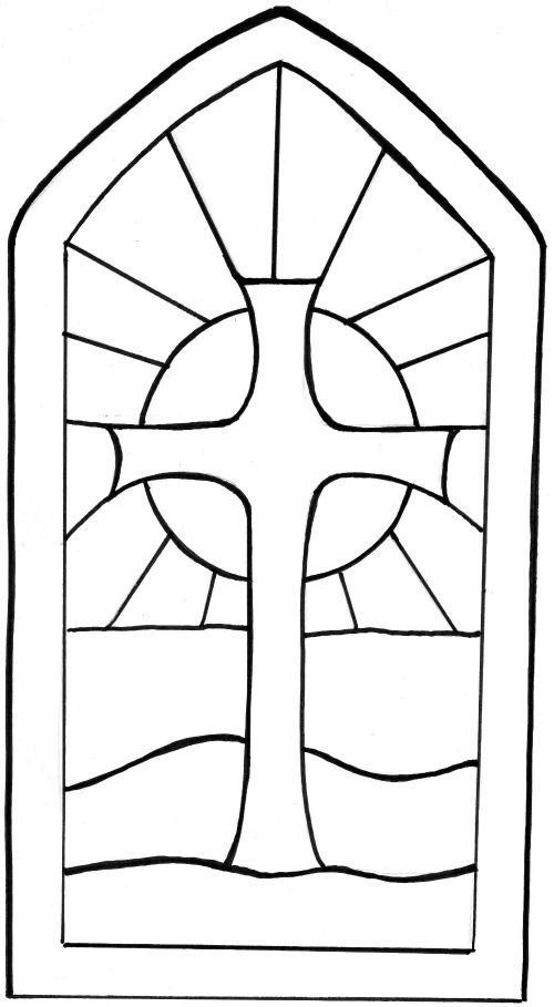 Simple clipart stained glass window #7