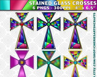 Stained Glass clipart cross Clip Instant Clip cross Clipart