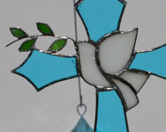 Stained Glass clipart dove peace Olive Dove Stained Blue suncatcher