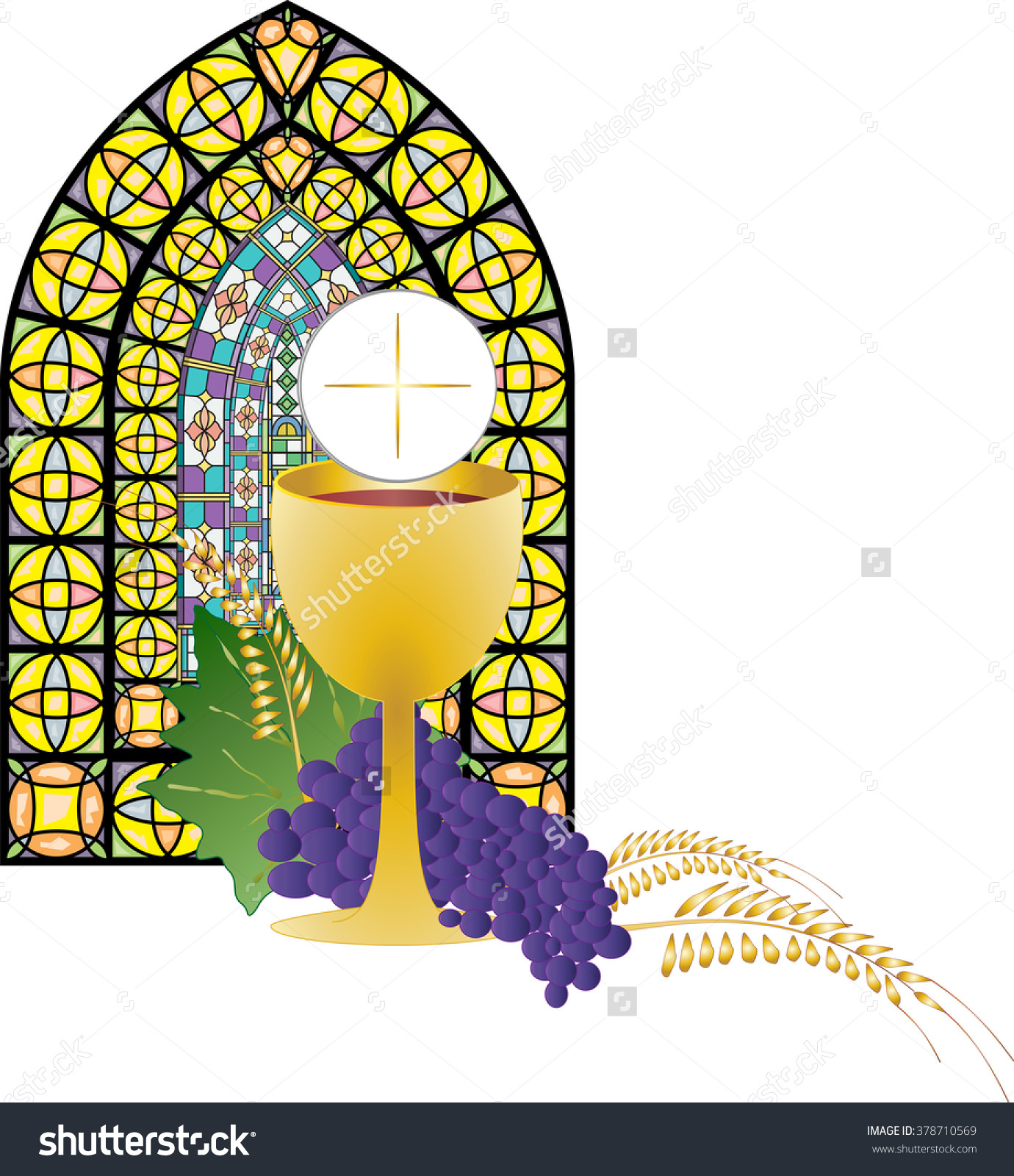 Stained Glass clipart eucharist Chalice Wine Bread collection Symbol
