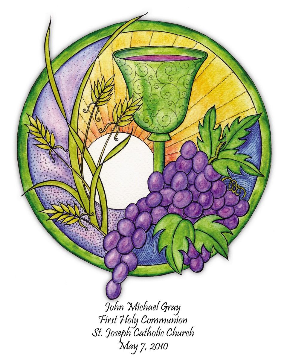 Grape clipart communion chalice 8x10 Personalized print First Communion