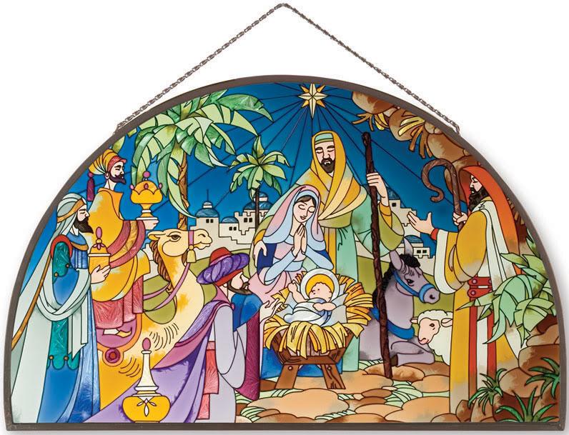 Stained Glass clipart manger scene NATIVITY * Panel OCTAGON ART