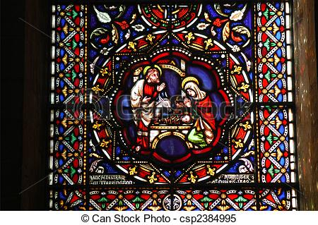 Stained Glass clipart manger scene Of Nativity  Stained scene